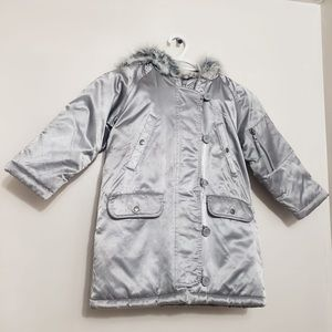Togo Silver Fur Lined Hoodies Winter Puffer Jacket